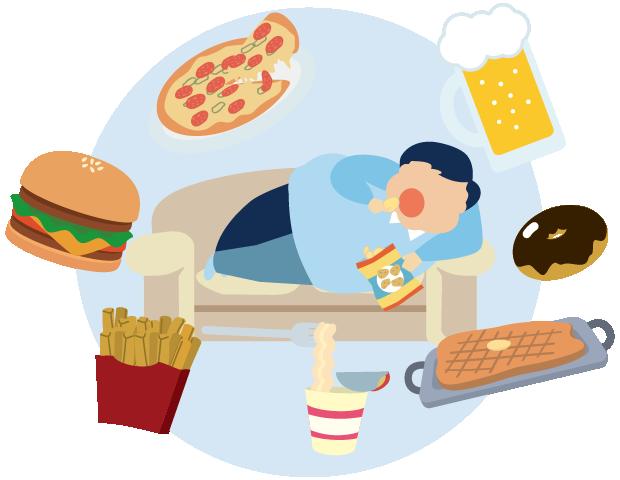 過食、運動不足、不規則な生活
