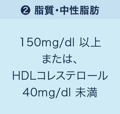 「❷脂質・中性脂肪」150mg/dl以上または、HDLコレステロール40mg/dl未満